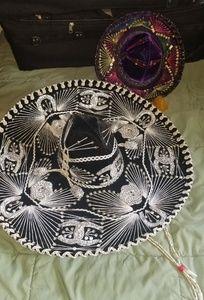 2 for 1! Dazzling black/silver sombrero + purple